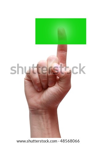 Man's hand pushes the button - stock photo