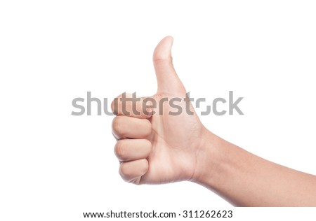 man's hand showing thumb up, like, positive sign. Isolated on white background
