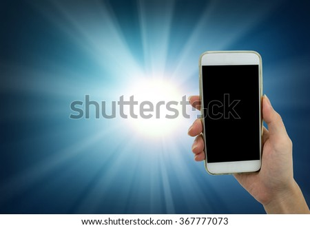 Man's hand shows white smartphone in vertical position on abstract technology background - mockup template