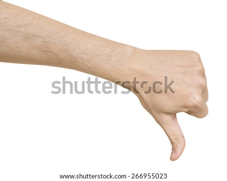 man's hand sign bad white background