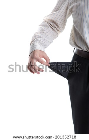 man's hand turns empty pocket on a white background
