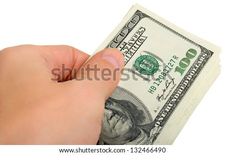 Man's hand with a bunch of money, close-up. - stock photo