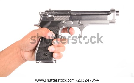 man's Hand With A Gun Isolated On White Background