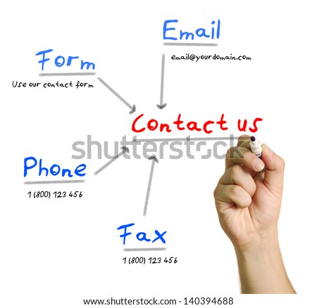 Man's hand writing contact us with a marker - stock photo