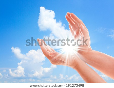 Man's hands reach for sky. Prayer at dawn Hand concept.Two hands protecting something  - stock photo