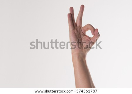 man's hands show signs on white background