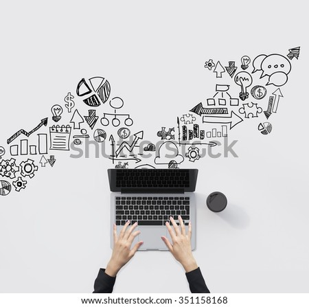 Man's hands typing on a laptop, cup of coffee to the right. White background with icons of dollar, diagram, graph, scheme, notes, bulb in shape of zigzag. Top view. Concept of work - stock photo