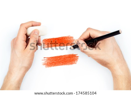 Man's hands with pencil draws flag of Austria on white background - stock photo