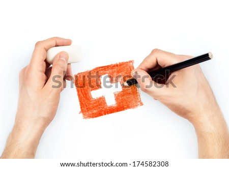 Man's hands with pencil draws flag of Switzerland on white background - stock photo