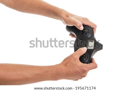 man's hands with rc remote transmitter on a white background - stock photo