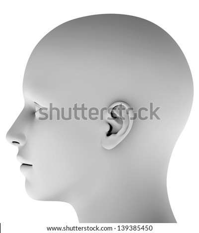 Man´s head isolated on white background hires ray traced - stock photo