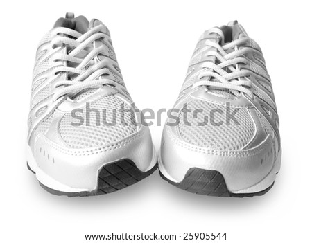 man's jogging shoes isolated on white background - stock photo