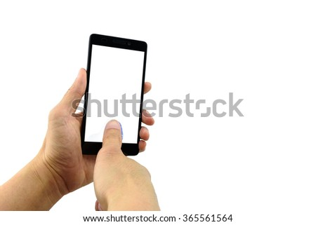 Man's left hand holding a black 5.5 inches touchscreen smartphone while the right hand's thumb is pressing on the screen and scan a fingerprint to identify personal identity before further activities. - stock photo