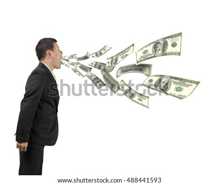 Man's mouth spraying out dollar bills, isolated on white background.