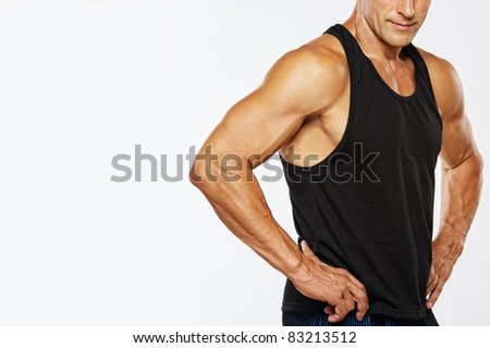 Man's muscular body. - stock photo
