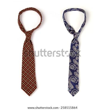 Man's neckties on white background - stock photo