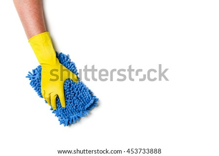 Man's or woman's hand cleaning on a white background. - stock photo