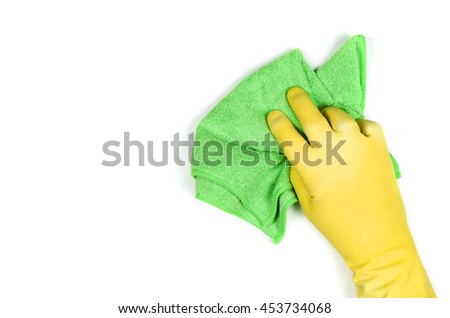 Man's or woman's hand cleaning on a white background.