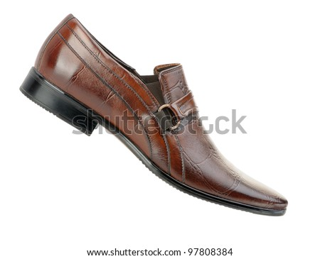 Man's shoes.  A red skin. It is isolated on a white background - stock photo