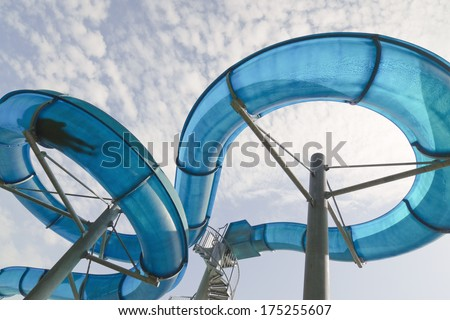 Man�s silhouette in water slide.