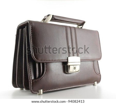 Man's small bag over white - stock photo