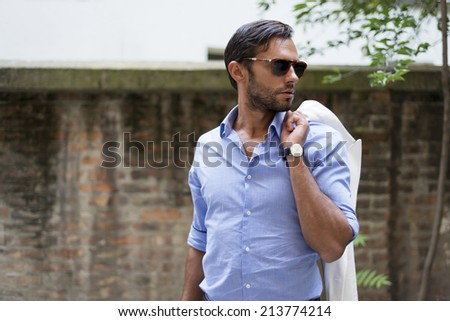 Man's style. dressing suit, shirt, glasses - stock photo