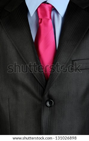 Man's suit with tie close up - stock photo