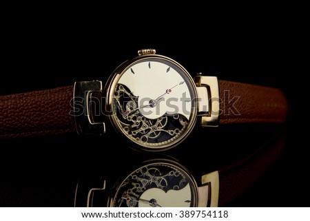 Man's watch. Luxury goods - stock photo