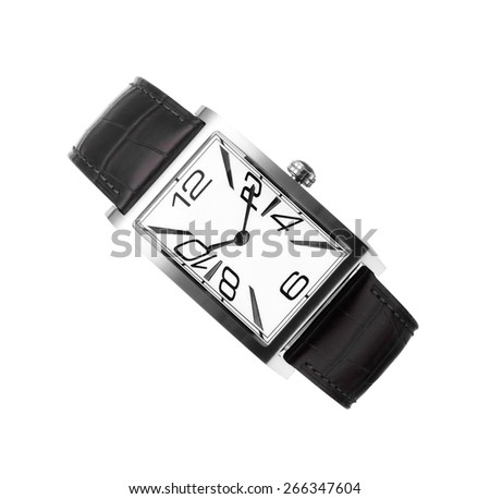 man's watch with a black leather belt isolated - stock photo