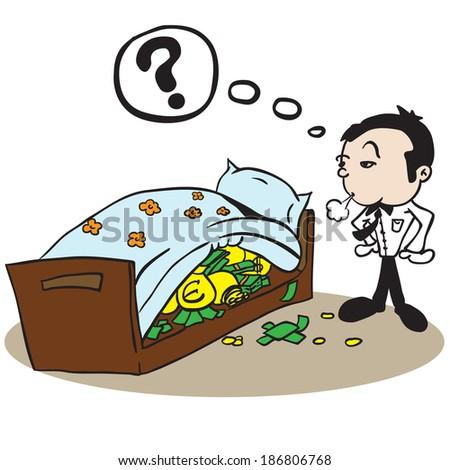 man saving money under bed cartoon illustration - stock photo