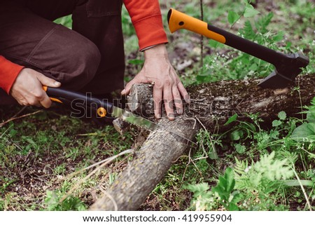 Man sawing wood for campfire in the forest. Close-up saw, axe and lumberjack hand cutting trees outdoors. Man cutting log of wood timber to making campfire on nature. - stock photo