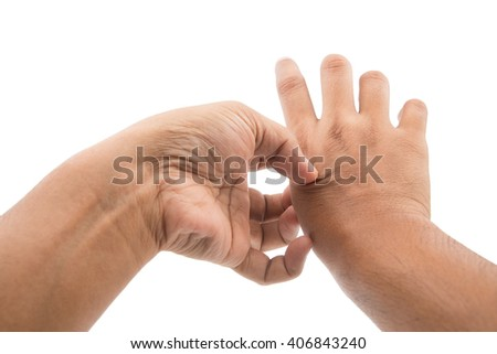Man scratch the itch with hand, isolate on white background