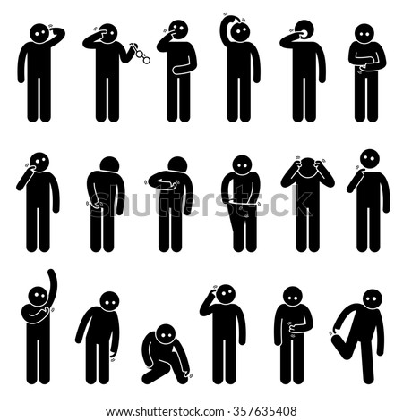 Man Scratching Body Stick Figure Pictogram Icons