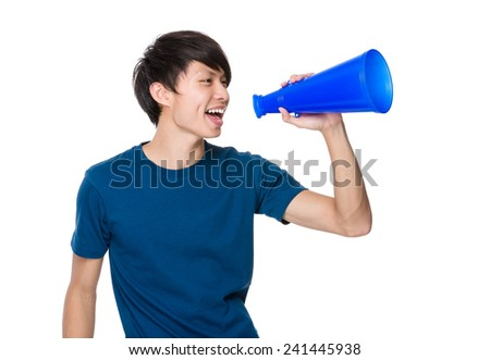 Man scream with megaphone - stock photo