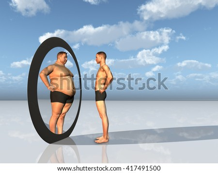 Man sees other self in mirror 3D Render - stock photo