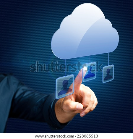 man selecting a person in a cloud network