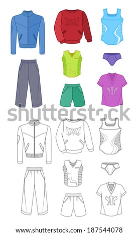 Man set tricot clothes colored isolated on white background - stock photo