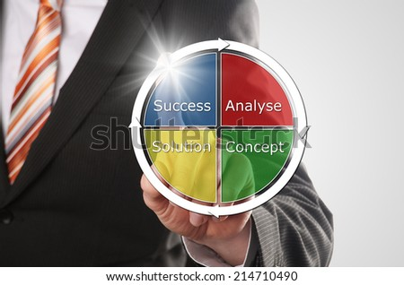 man sets his new strategy to reach his business goal - stock photo