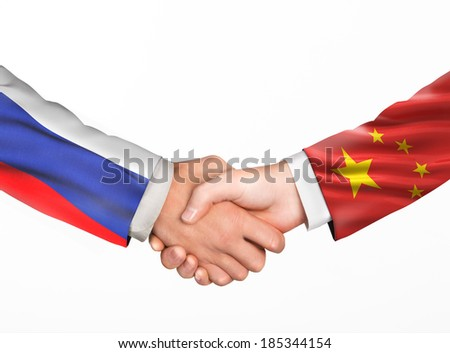 Man shake hands. Friendship countries. Flags of countries - stock photo