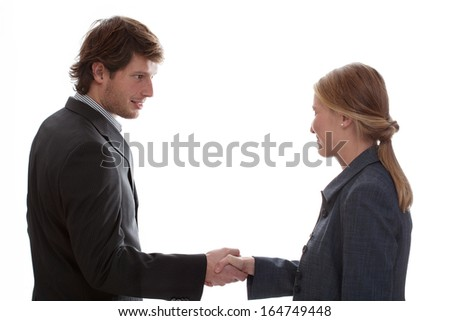 Man shaking woman hand on white isolated background - stock photo