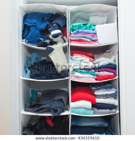 Man shelves in wardrobe vs woman shelves with clothes. Concept of gender difference: arrangement, color preference, neatness and clutter, order and mess.