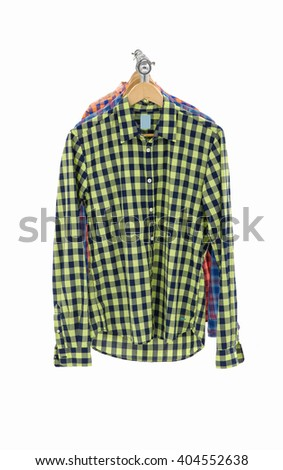 Man shirt and sleeved plaid cotton on a hanger isolated on a white background - stock photo