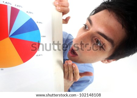 Man shocked by financial results - stock photo