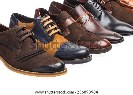 man shoes isolated on white  - stock photo