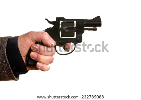 man shooting a handgun on the white background