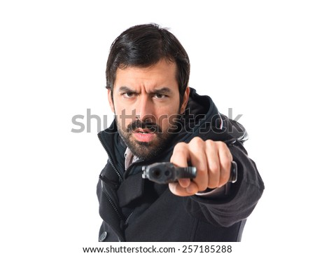 Man shooting with a pistol
