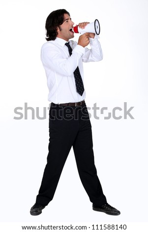 Man shouting for speaker - stock photo