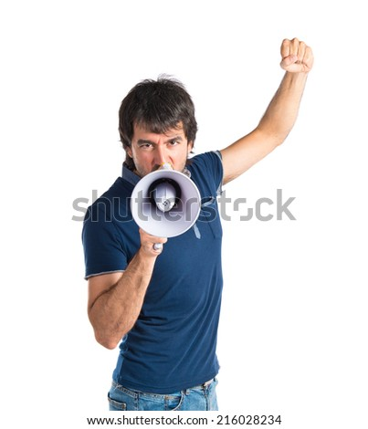 Man shouting over isolated white background