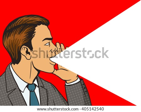 Man shouting with his hand in the face pop art style raster illustration. Human illustration. Comic book style imitation. Vintage retro style. Conceptual illustration
