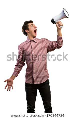 man shouts through a megaphone. isolated on white background - stock photo